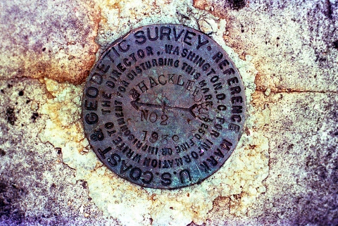 Geodetic marker, Shackleford Point Trail, Oak Mountain State Park, Shelby County, Alabama