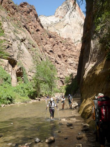 Hiking in the Narrows, Zion Canyon National Park, UT