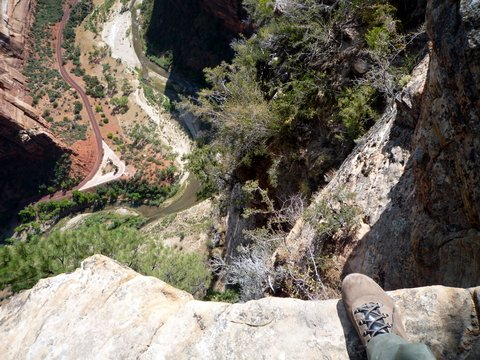 Looking down from Angel's Landing, Zion Canyon National Park, UT