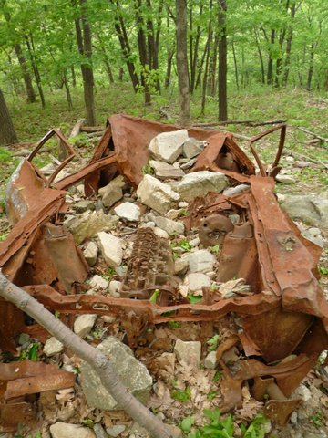 Wrecked car, Red Trail, South Beacon Mountain, NY