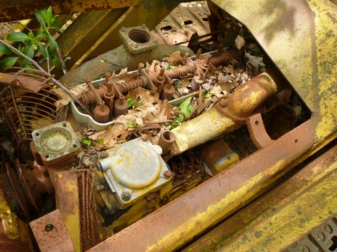 Engine of abandoned Caterpillar D2