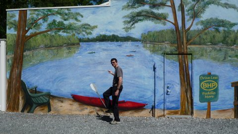 Posing with mural, Bel Haven Paddlesports, Green Bank, NJ