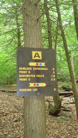 Trail sign, Mianus River Gorge, Westchester County, NY