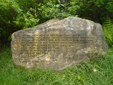 Stone engraved with quotation from John Bascom, Mt. Greylock, MA