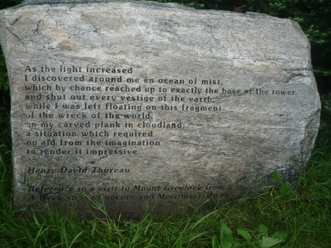 Stone engraved with quotation from Henry David Thoreau, Mt. Greylock, MA
