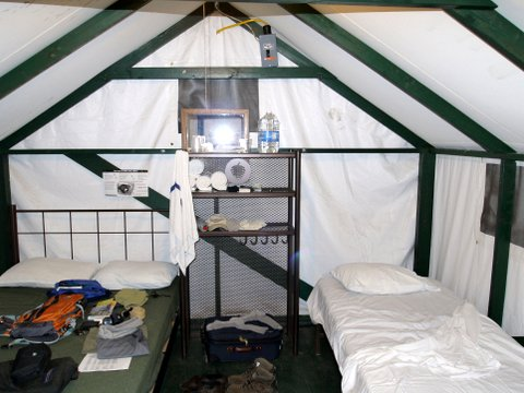 Tent cabin interior, Curry Village, Yosemite National Park, California