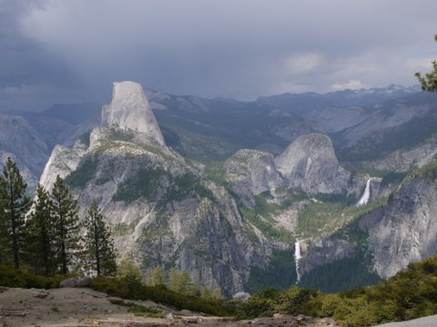 Half Dome, Mount Broderick, Liberty Cap, Nevada Fall and Vernal Fall; Yosemite National Park, California