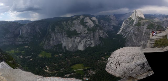 Yosemite Falls, Half Dome, Yosemite Valley and Curry Village; from Glacier Point, Yosemite National Park, California