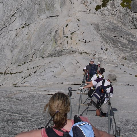Descending from top of Half Dome, Yosemite National Park, California