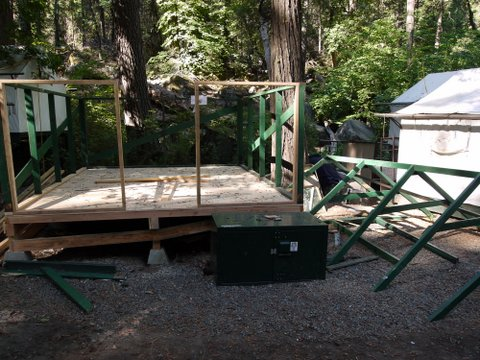 Tent cabin frame, Curry Village, Yosemite National Park, California