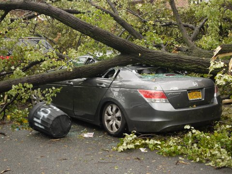 Crushed Honda Accord, 69th Road, Kew Gardens Hills, NY