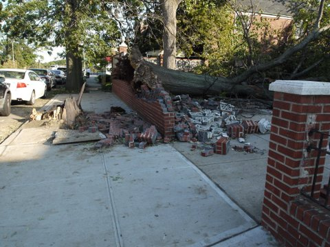 Crushed brick wall on Main St., Kew Gardens Hills, NYC