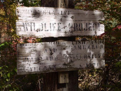 Ancient sign on Highline Trail, Black Rock Forest, Orange County, New York