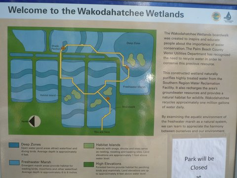 Welcome poster, Wakodahatchee Wetlands, Palm Beach County, Florida