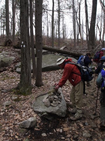 Adding to a cairn on the Lichen Trail, Harriman State Park, NY