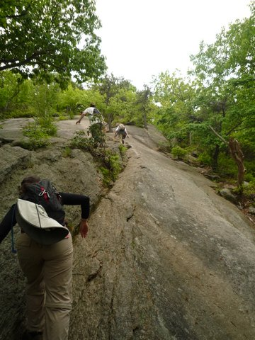 Scrambling on bare rock, Bear Mountain State Park, NY