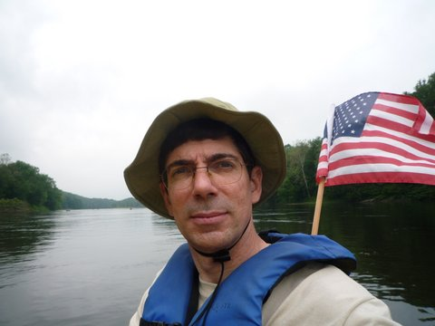 Posing at Delaware River, with American Flag