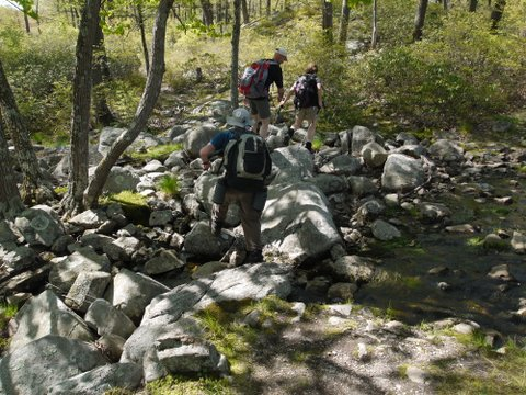 Crossing a rocky area, Triangle Trail, Harriman State Park, NY