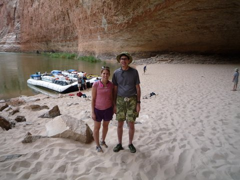 Charlie and Julie in Redwall Cavern, Mile 33, Colorado River, Grand Canyon