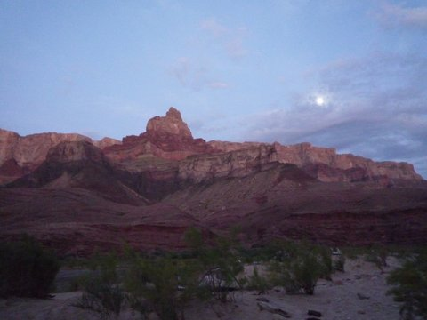 Moonrise over Upper Tanner Campsite, Colorado River, Grand Canyon