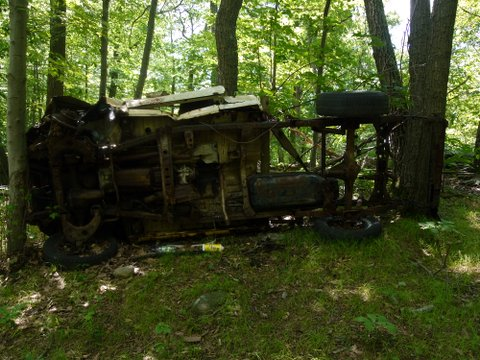 Wrecked pickup, red trail, Norvin Green State Forest, NJ