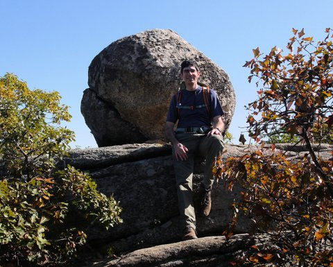 Posing in front of boulder, Norvin Green State Forest, NJ
