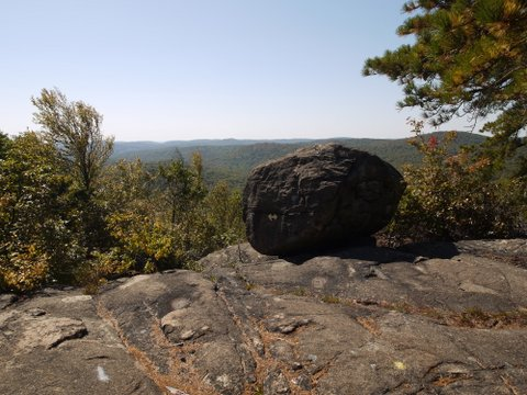 Boulder and Scenic View, Yellow Trail, Norvin Green State Forest, NJ