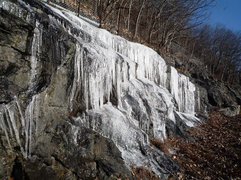 Icicles on rock face