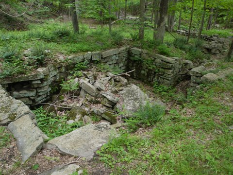 Shed foundation, Godfrey Trail, Devil's Den Preserve