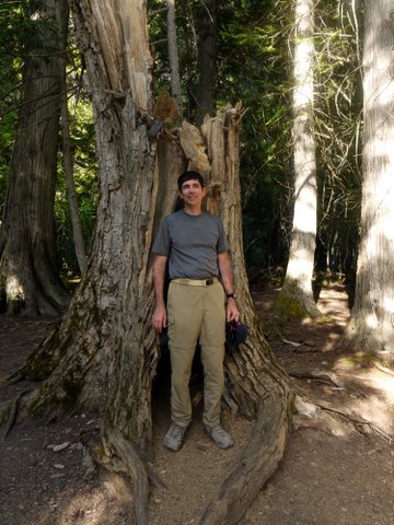 Posing on Trail of the Cedars, Glacier National Park, Montana