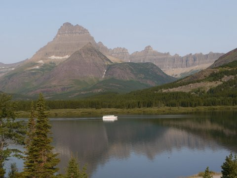 """Chief Two Guns"" on Swiftcurrent Lake, Glacier National Park, Montana"