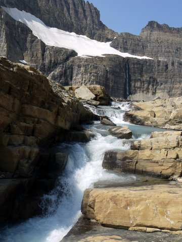 Runoff from Upper Grinnell Lake to Grinnell Falls, with Salamander Glacier Above; Glacier National Park, Montana