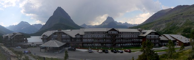 Many Glacier Hotel and Swiftcurrent Lake, Glacier National Park, Montana