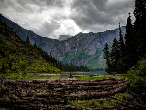 Avalanche Lake and Monument Falls, Glacier National Park, Montana
