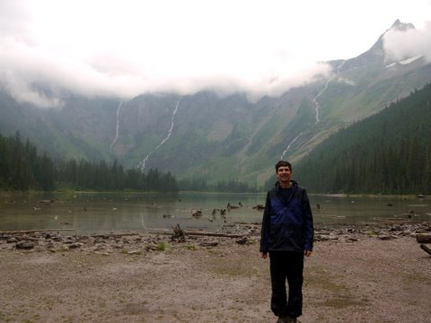 Charlie in Front of Avalanche Lake and Monument Falls, Glacier National Park, Montana