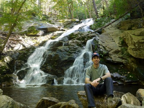 Posing at the lower falls of Mineral Spring Brook, Black Rock Forest, Orange County, New York