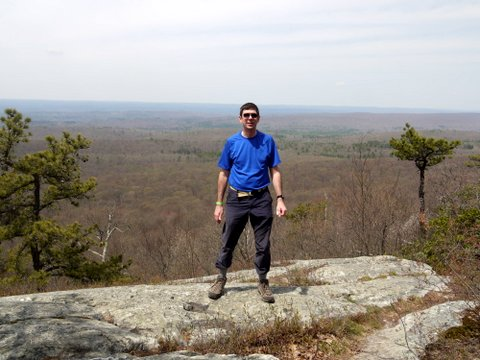 Posing on Kittatinny Ridge at Intersection of Appalachian Trail and Tower Trail, Stokes State Forest, NJ