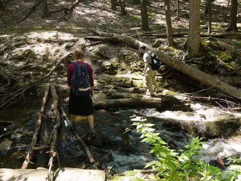 Crossing a stream on the Appalachian Trail, Orange County, NY