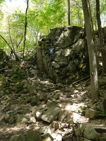 Stairway under construction, Fitzgerald Falls, Appalachian Trail, Orange County, NY