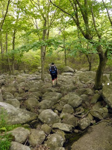 Hiking across large rocks, Harriman State Park, Rockland County, NY