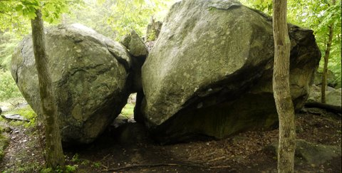 Side view of Gonusquah Rock, Harriman State Park, Rockland County, NY