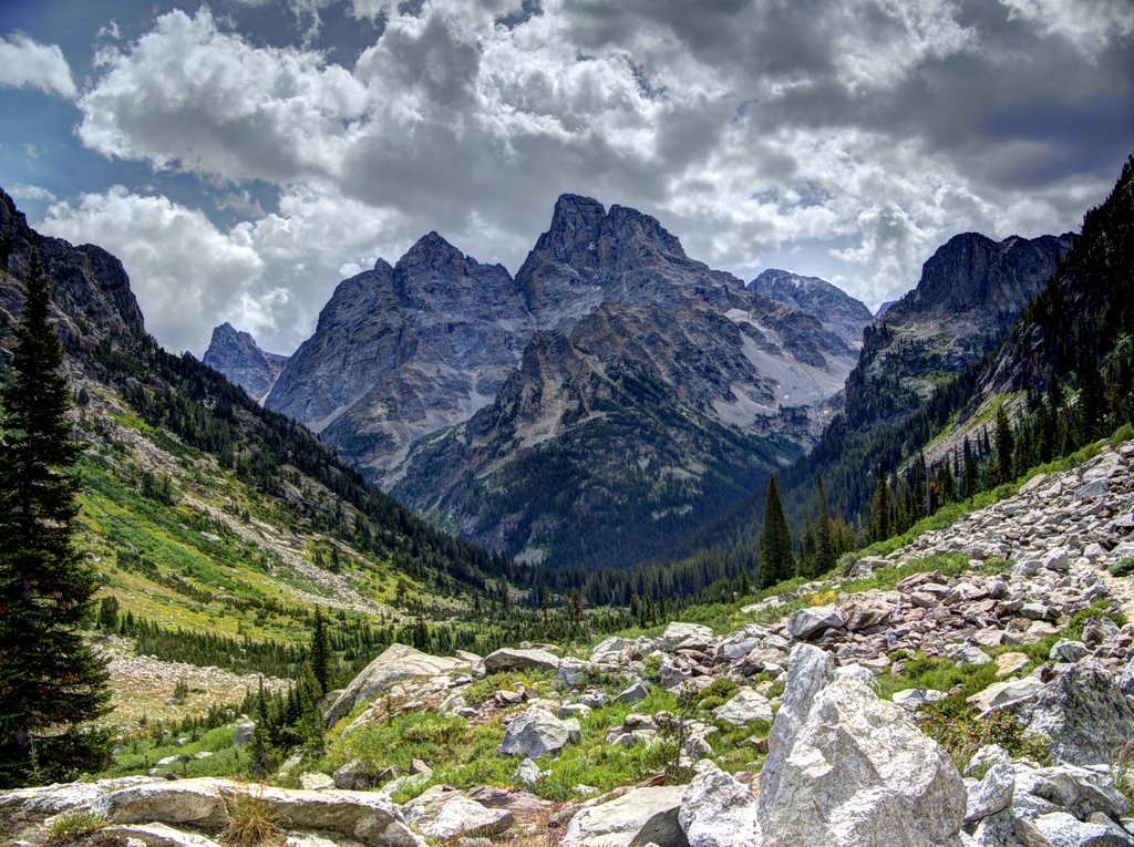Cathedral Group from North Fork Cascade Canyon, Grand Teton National Park, Wyoming