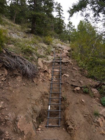 Ladder at washed-out area on Saddle Rock trail, Boulder Mountain Park, Boulder, Colorado