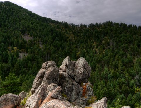 View from junction of Saddle Rock and E.M. Greenman trails, Boulder Mountain Park, Boulder, Colorado