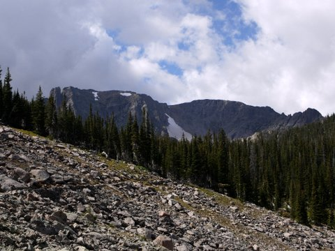 Mountains with snowfields, Rocky Mountain National Park, Colorado