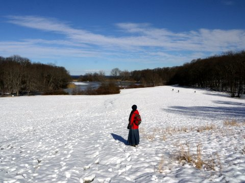 Hiking down toward the Fresh Pond, Caumsett State Historic Park Preserve, Suffolk County, New York