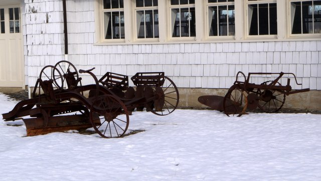 Agricultural relics at the dairy farm, Caumsett State Historic Park Preserve, Suffolk County, New York