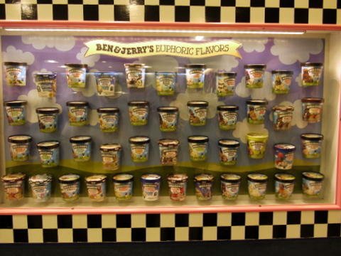 Ice cream selection, Ben & Jerry's Factory, Waterbury, Washington County, Vermont