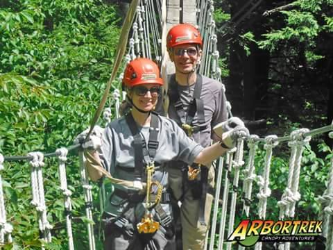Crossing a rope bridge, ArborTrek Canopy Adventures, Jeffersonville, Lamoille County, Vermont