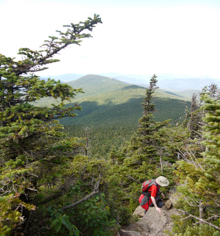Scrambling up the Killington Spur Trail, Killington Peak, Rutland County, Vermont